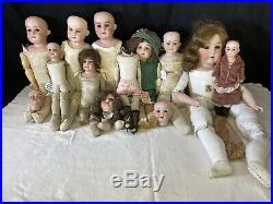 12PC Antique German Bisque Leather Kid Body Doll LOT Heubach Kestner Repair