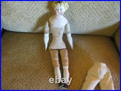 14 Antique Parian Doll With Molded Bow In Molded Hair Great Size