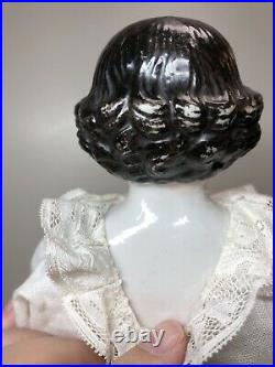 15.5 Antique German Porcelain China Head Doll AW Kister High Brow 1860-70s #A