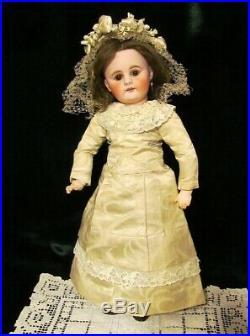 16 Antique German Sonneberg Doll Bahr & Proschild Mold 300, Silk Bride Costume