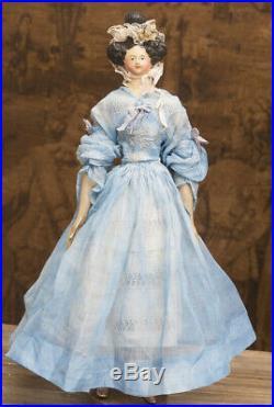 16 Rare Antique German Paper Mache Milliner's Queen Adelaida Doll, 1828