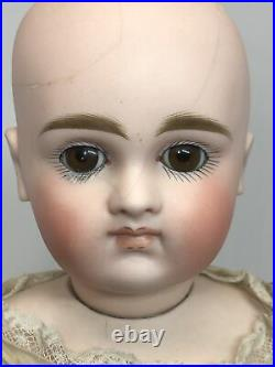 17 Antique German Kestner Bisque Doll CM Leather Kid Body Blonde Girl As Is #L