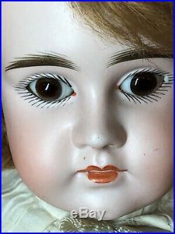 18 Antique Kestner Bisque German Doll Closed mouth 7 1/2 brown PW Eyes Kid Body