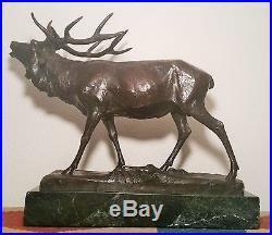1910 BRONZE BULL elk antique sculpture statue german table art vtg wildlife deer