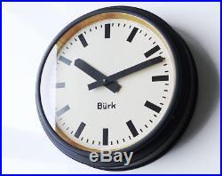 1920 Antique german BURK Industrial Clock factory wall Bauhaus old large vintage