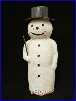 1920's German Vintage Antique Snowman paper Mache Candy Container 8