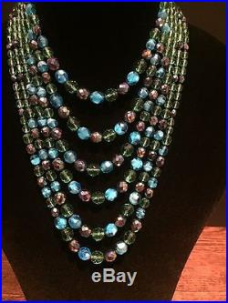 1930's Antique Glass Bead Dramatic Statement Necklace & Bracelet Vintage German