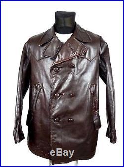 1930's German Vintage Horsehide Leather Jacket Coat M Antique Brown Aviator WW2