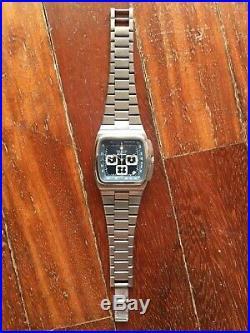1970s Vintage Zenith El Primero Big Blue TV Chronograph watch German collector