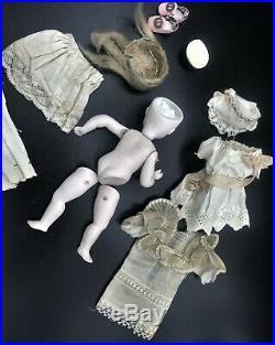 19C Kestner 6 All Bisque Brown Eye Bare Feet German Mignonette Doll w Wardrobe