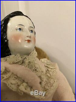 19 Very Rare Fancy Unusual Hairstyle Ca 1870 Antique German China Lady Doll