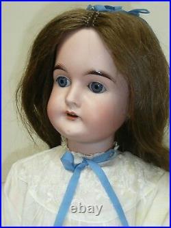 24.5 Antique German Kral Hartmann 3 Bisque Doll, Compo BJ Body, Blue Sleep Eyes