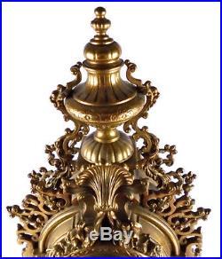 25 Vtg Antique Ornate Brass Franz Hermle Italian German Working Mantle Clock