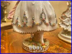 2 Vintage German Dresden Volkstedt Rudolstadt Porcelain Ladies Figure Figurines