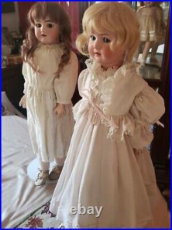 2 antique German dolls. Pre 1920s bisque 27Porcelain