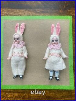 2 antique porcelain dolls on a sales card-Hertwig& Co