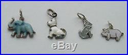 4 Vintage Antique German Silver 835' & enamel Charms PIG DOG ELEPHANT