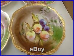 5 Vintage Antique Carl Tielsch German Fruit Gold Autumn Porcelain Soup Bowls
