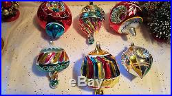 6 Antique Vintage German JUMBO FANCY GLASS CHRISTMAS ORNAMENTS
