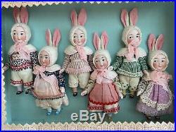 6 antique porcelain dolls Googly in the original box Kestner