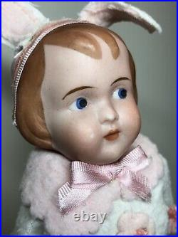 7 Antique German Bisque With Compo Body #33 79/0 Googlie Eyes Bunny Rabbit #SC5