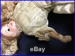 8 AG Limbach Clover Antique German Bisque Glass Eye Doll Kid W Wood Arms & Legs