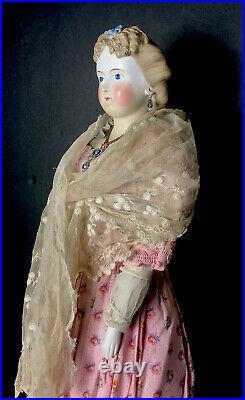 ANTIQUE 23H PARIAN SHOULDER HEAD BISQUE DOLL CIRCA 1800s