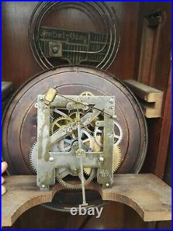 ANTIQUE GERMAN PENDULUM WALL CLOCK REGULATOR WITH GONG (like Junghans Kienzle)