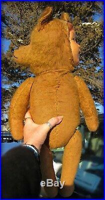 ANTIQUE RARE 24 MOHAIR TWO FACE TEDDY BEAR DOLL VINTAGE RARE GERMAN EARLY 1900s