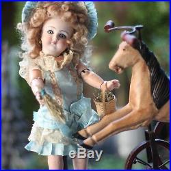 ANTIQUE TETE PORCELAIN DOLL c1880s MIGNONETTE CLOSED MOUTH w TRICYCLE HORSE