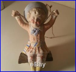 ANTIQUE german porcelain oil lamp pull vtg girl toy swing bisque doll figurine