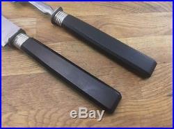 A+ antique Ebony German carving set RAZOR SHARP Carbon Steel knife & fork VTG