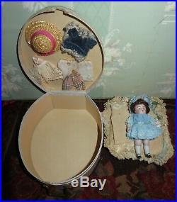 Adorable 4 1/2 Antique German Kestner All Bisque Doll With Case & Trousseau