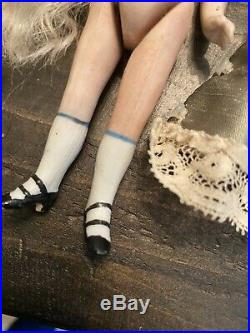 All Bisque French 5 2 Strap Shoes Mignonette Doll Cobalt Blue Eyes W 2 Outfits