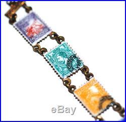Amazing 1938 Enamel Postage Stamp Souvenir Charm Bracelet Antique Vtg German