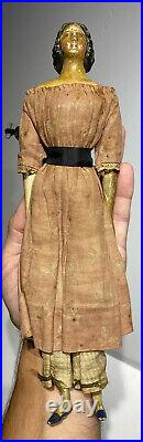 Antique 11 German 1800s Milliners Model Doll All Original Clothes With Long Hair