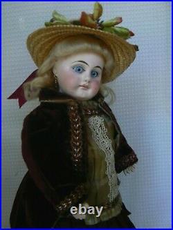 Antique 13 Belton Closed Mouth Bisque Doll No Damage Original Clothing
