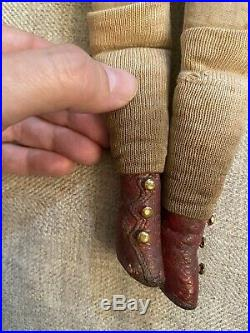 Antique 14 1870 Kling German Parian China Doll Red Leather Boots Molded Collar