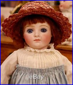 Antique 14 German Bisque 182 Kling Closed Mouth Doll on Jumeau Body