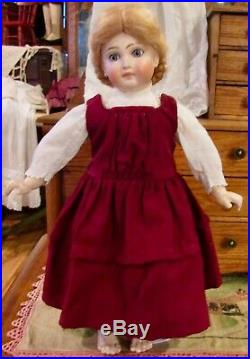 Antique 15 C1890 Closed Mouth Belton Doll withOrig Outfit & Mohair Wig