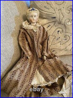 Antique 15 German Parian Doll With Fancy Hair And Collar With Provenance