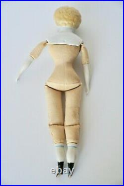 Antique 1800's German Doll China Porcelain Head Shoulder Cap & Limbs Fabric Body