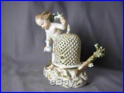 Antique 1815 Meissen Air Vintage German Porcelain Figure Cherub Birds Birdcage