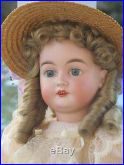 Antique 20 German Bisque Head Karl Hartmann Doll, Glass Eyes, Jtd Body