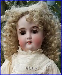 Antique 24Gebruder Kuhnlenz165 Bisque Doll &Drop Waist Dress Ribbon Work Flower