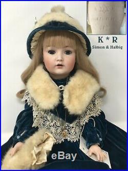 Antique 24 K & R Simon & Halbig 117 German Bisque Character Doll Velvet +Rabbit