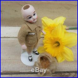 Antique All Bisque Doll 4 German Little Boy mold #31 32 Blue Glass Eyes Blonde