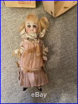 Antique All Original With Box 5 All Bisque Kestner German Doll Glass Eyes