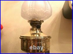 Antique Art Deco Jugendstil German Brass Polished Kerosene Oil Lamp