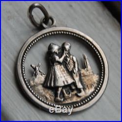 Antique Art Nouveau 800 Silver Romantic Lovers Charm Sweetheart German Vintage